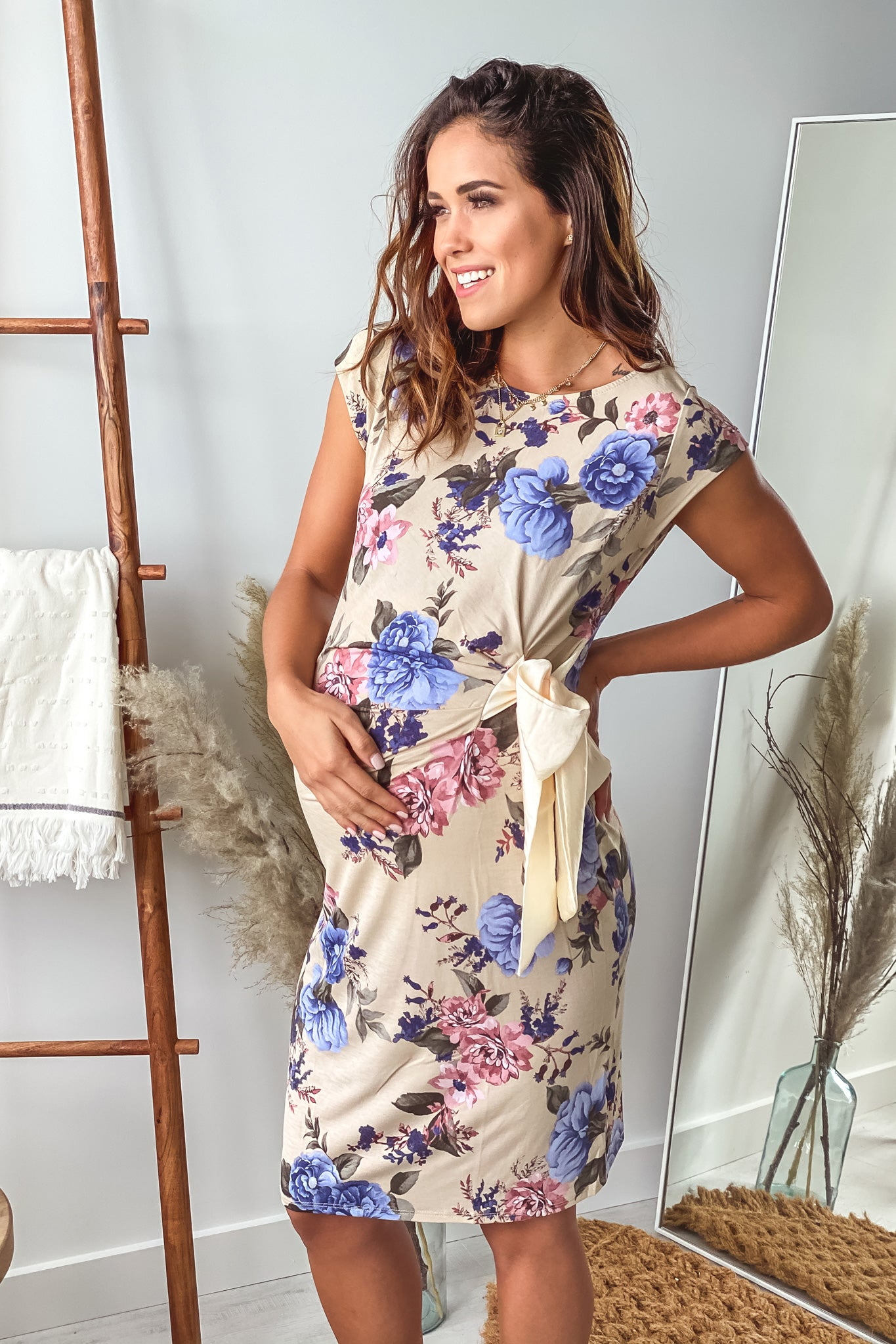 Taupe Floral Maternity Short Dress with Cream Bow Detail