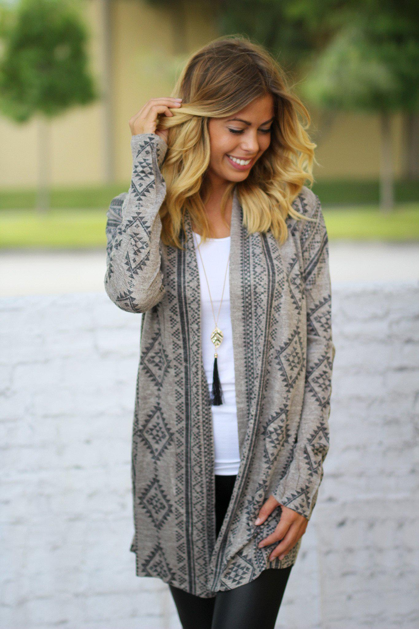open taupe cardigan