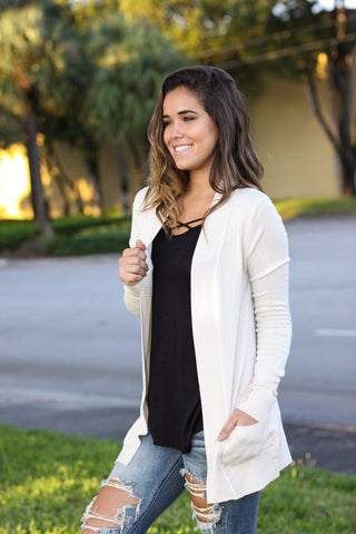 Taupe Cardigan with Pockets