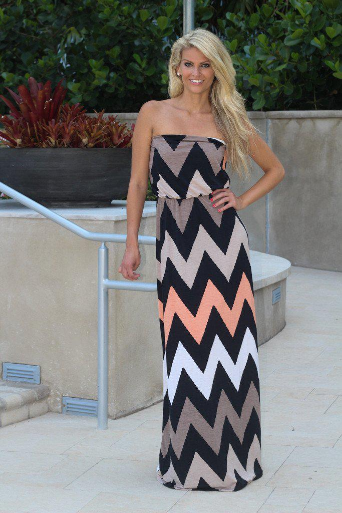 Taupe Strapless Chevron Maxi Dress