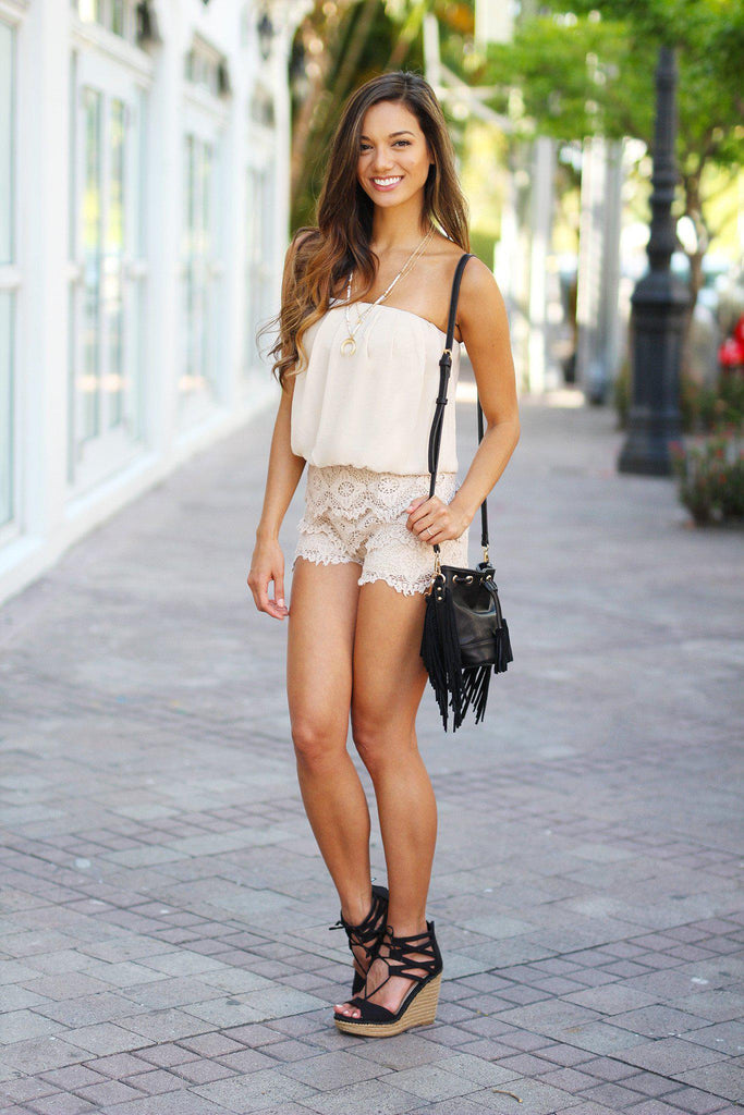 taupe sleeveless romper