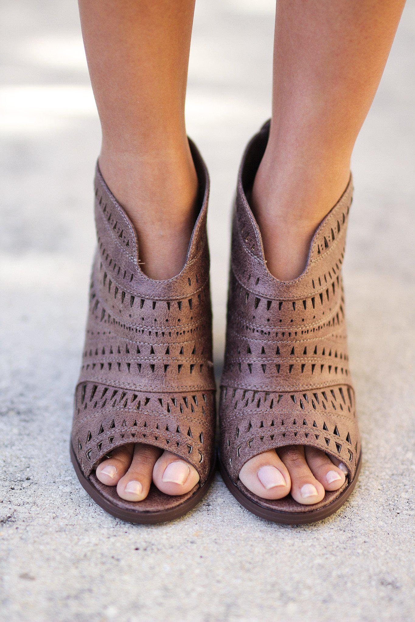 Taupe Cut Out Peep Toe Booties
