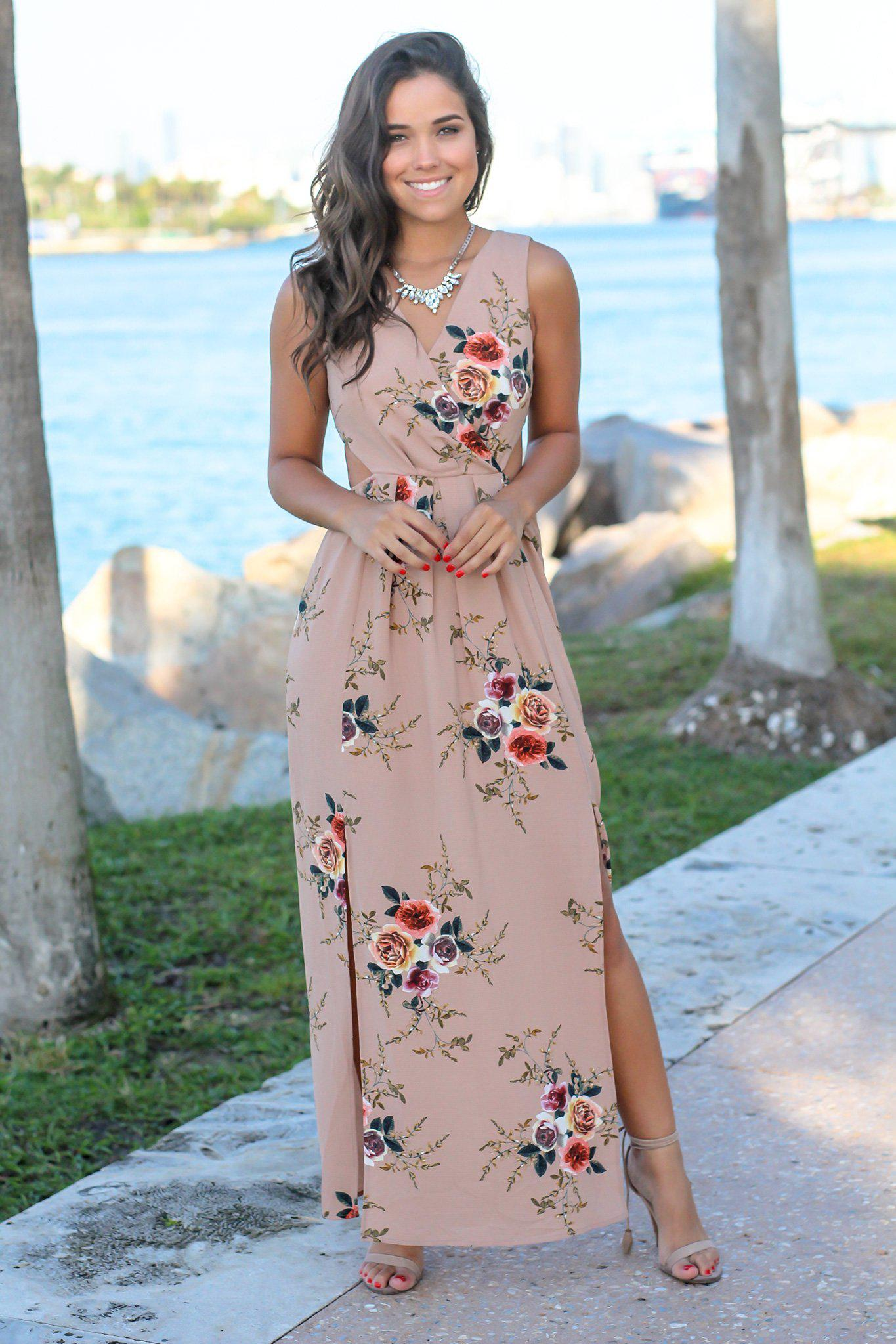 Taupe Floral Maxi Dress with Cut Outs