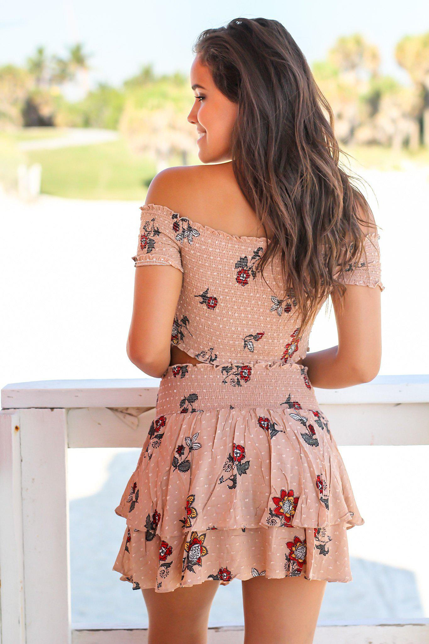 Taupe Floral Top and Skirt Set