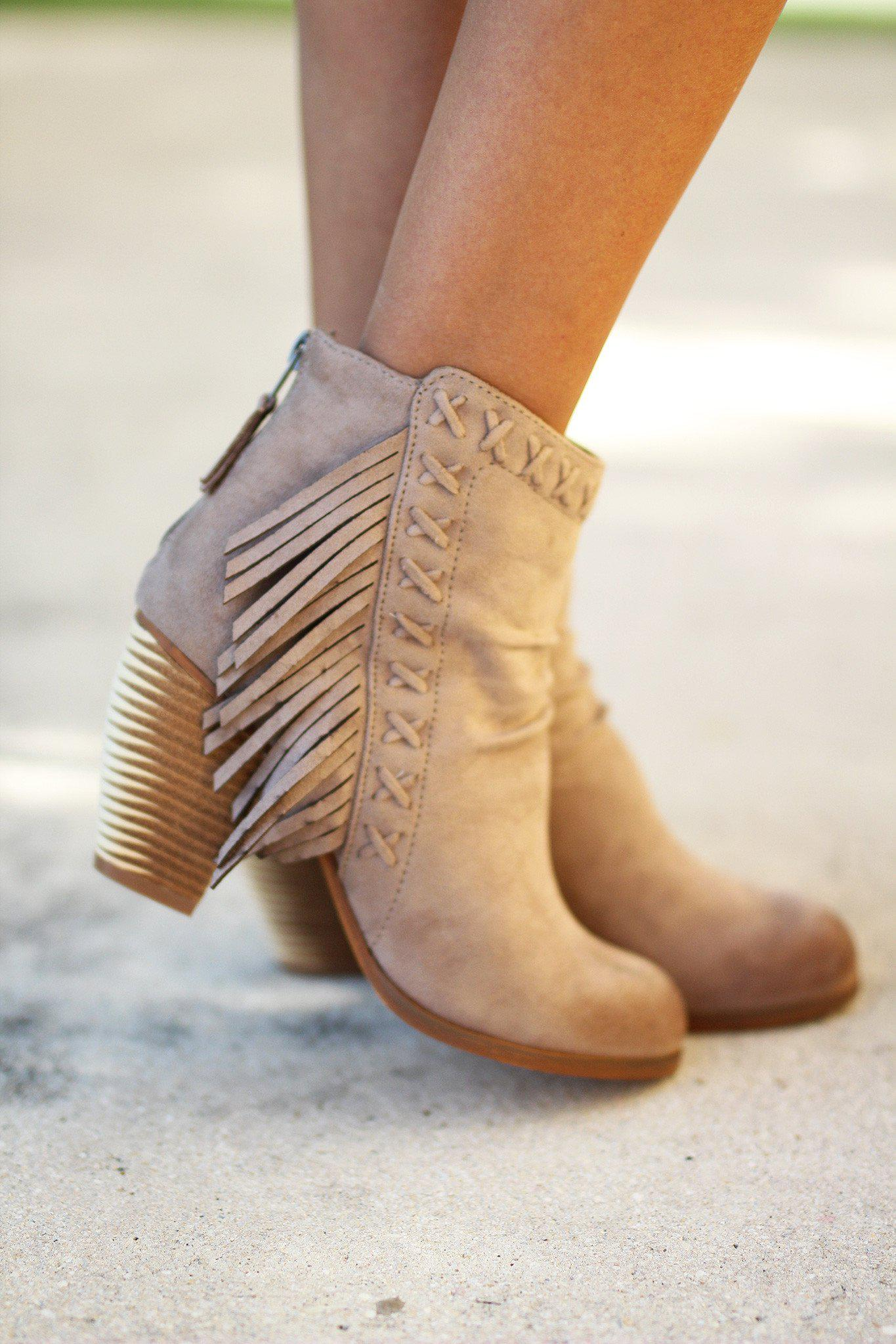 taupe ladies boots with fringe details
