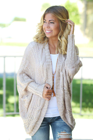 Taupe Knit Open Cardigan