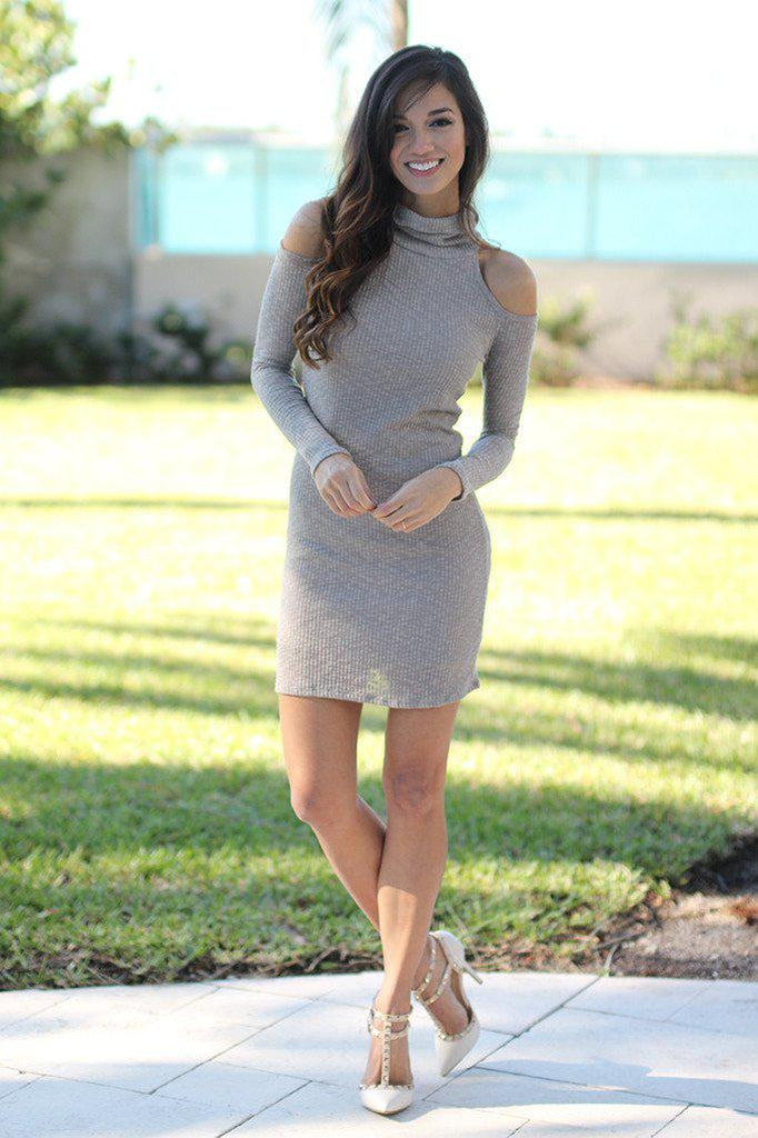 taupe long sleeve dress