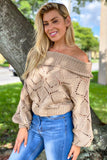 Taupe Knit Off Shoulder Sweater