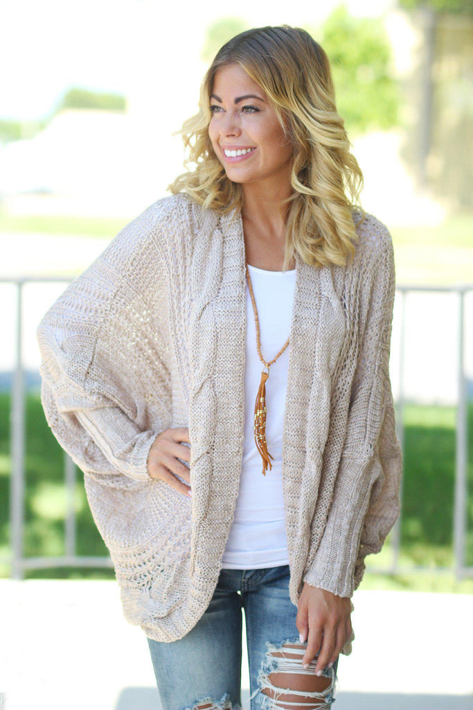 taupe open front cardigan