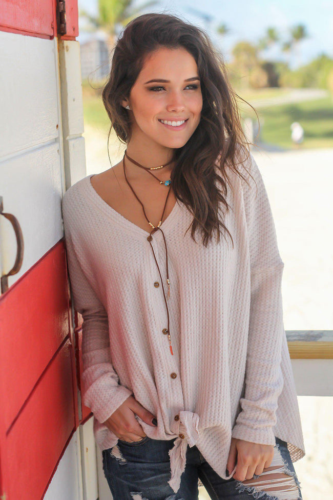 Taupe Knit Oversized Button Down Top