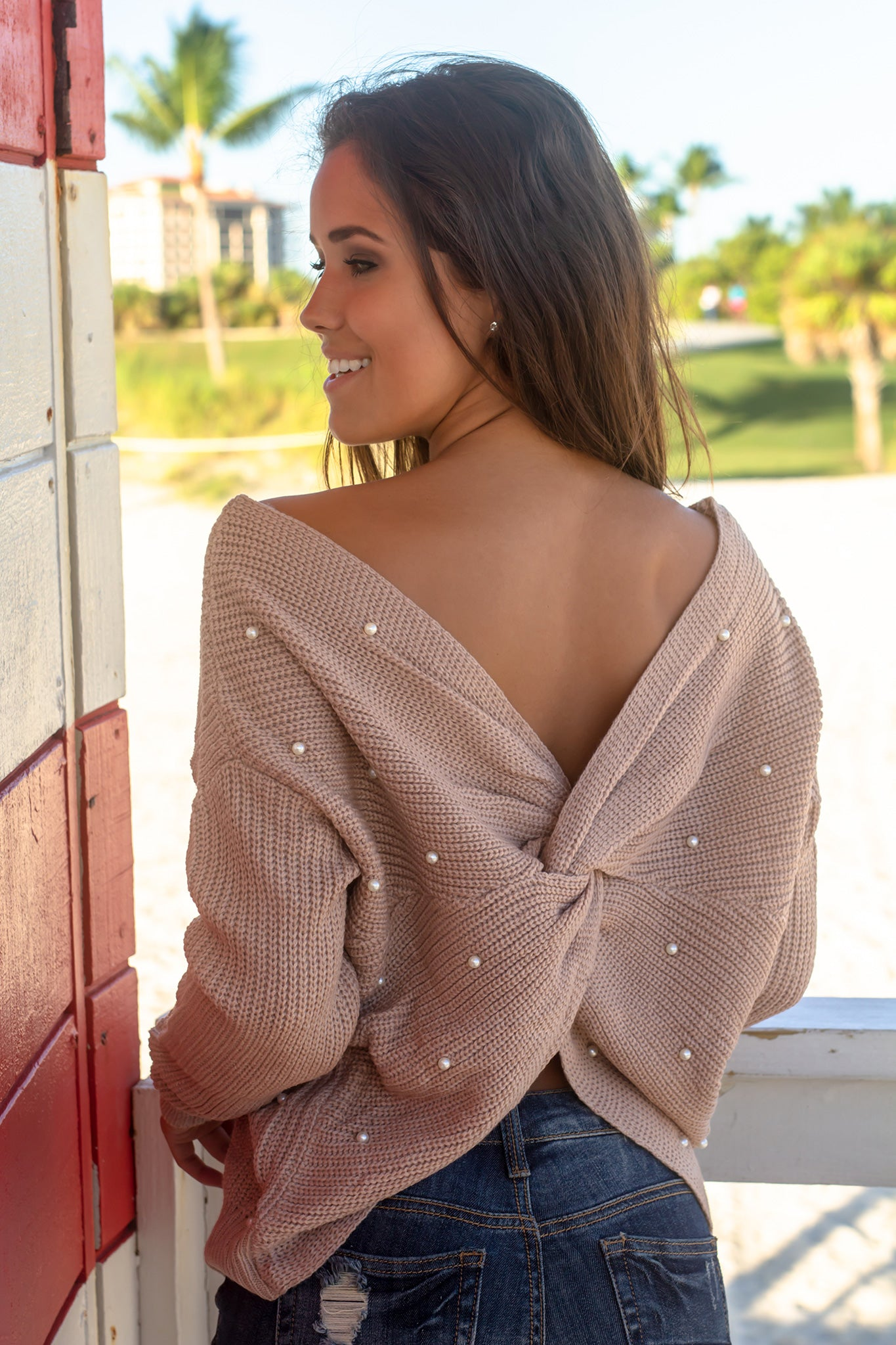 Taupe Knit Sweater with Pearl Detail