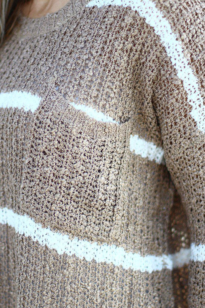 Taupe Striped Knit Sweater with Pocket