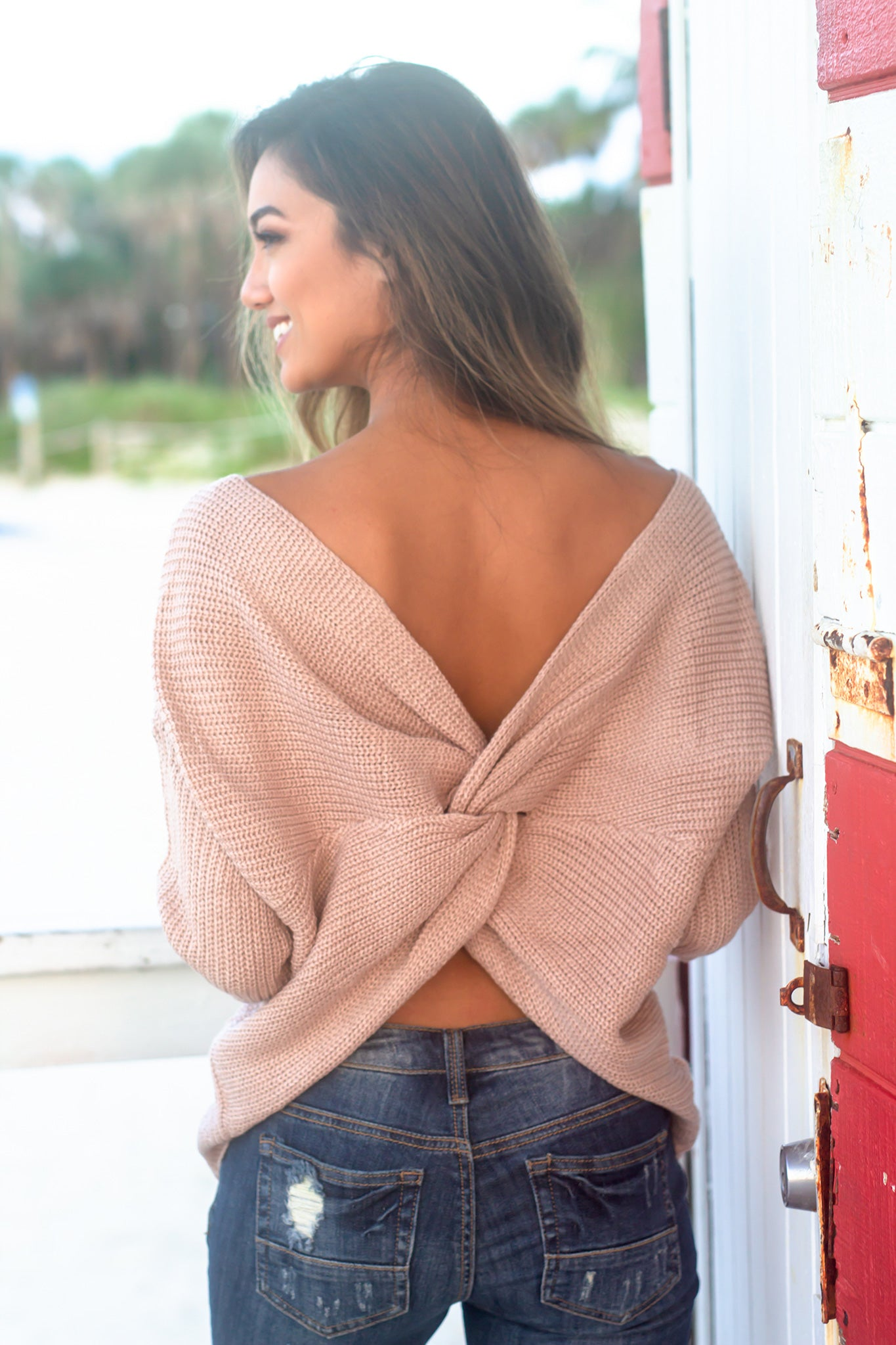 Taupe Knit Sweater with Twist Detail
