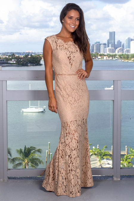 Taupe Lace Maxi Dress with Jewel Detail