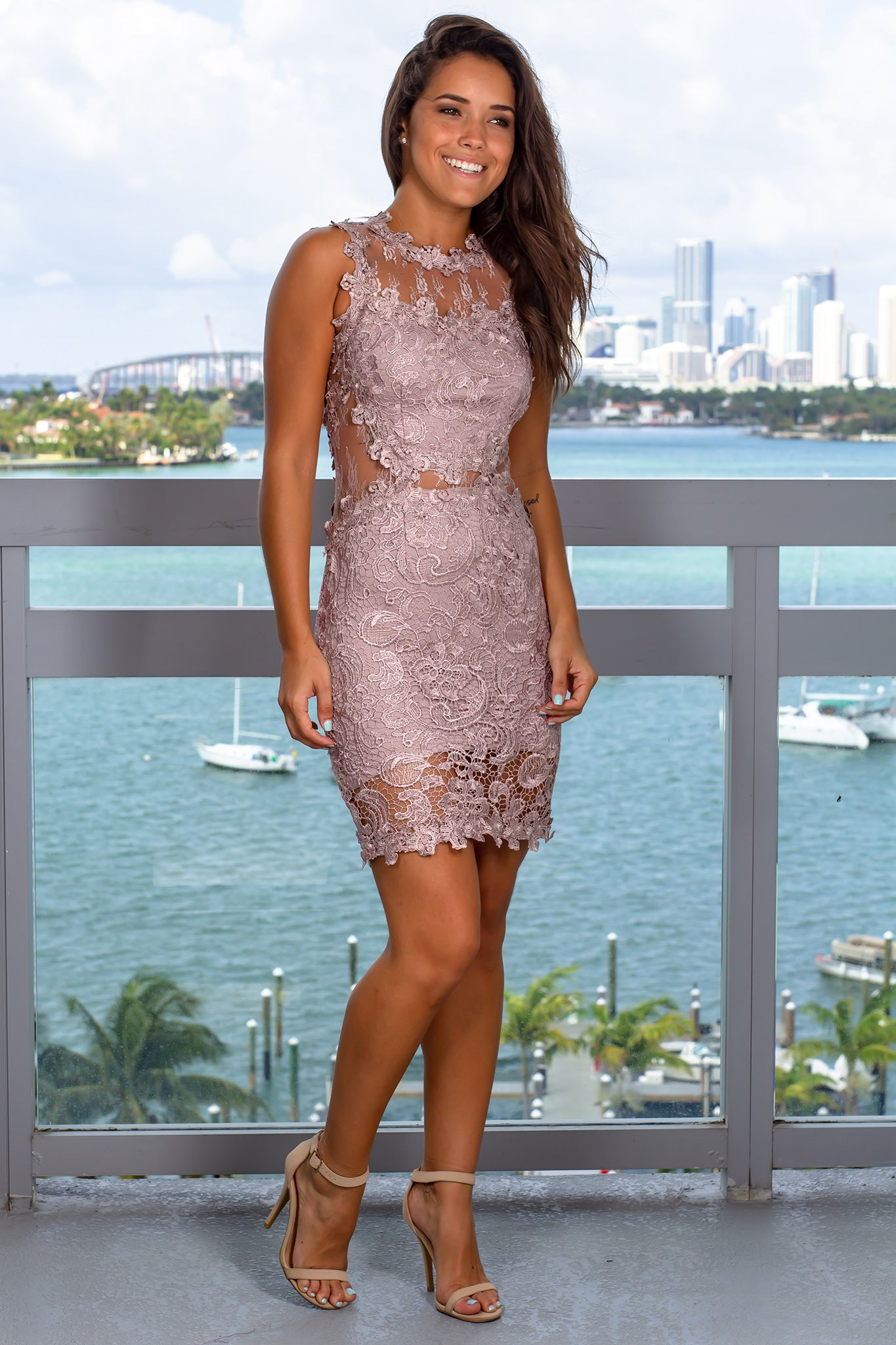 Taupe Lace Short Dress
