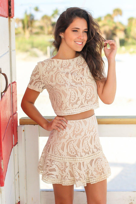 Taupe Lace Skirt and Tops Set