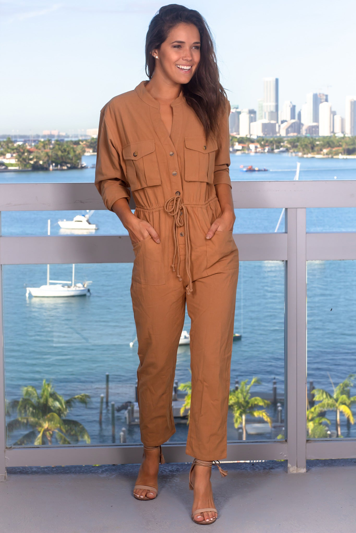 Taupe Long Sleeve Jumpsuit