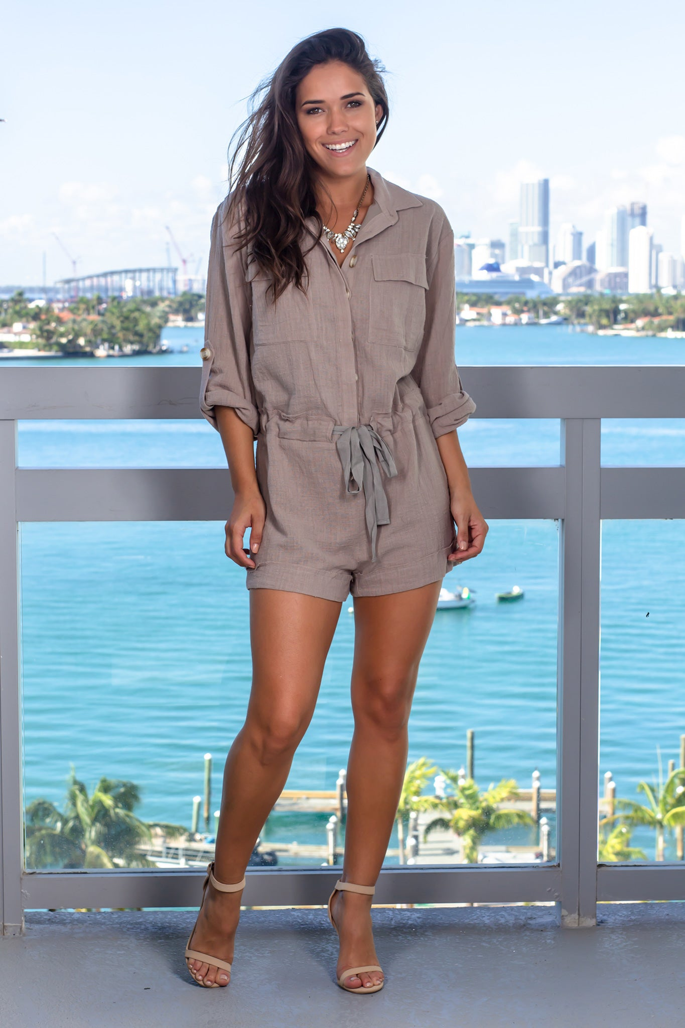 Taupe Long Sleeve Romper