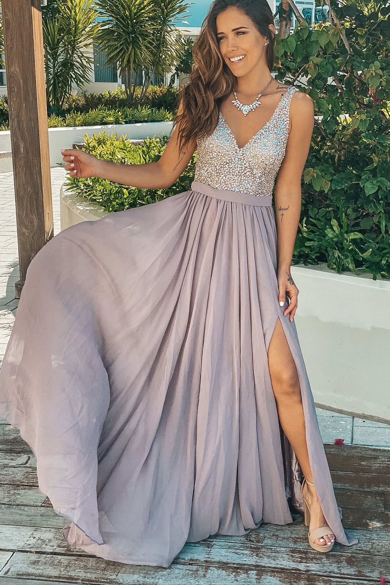 Taupe Maxi Dress with Silver Jewels
