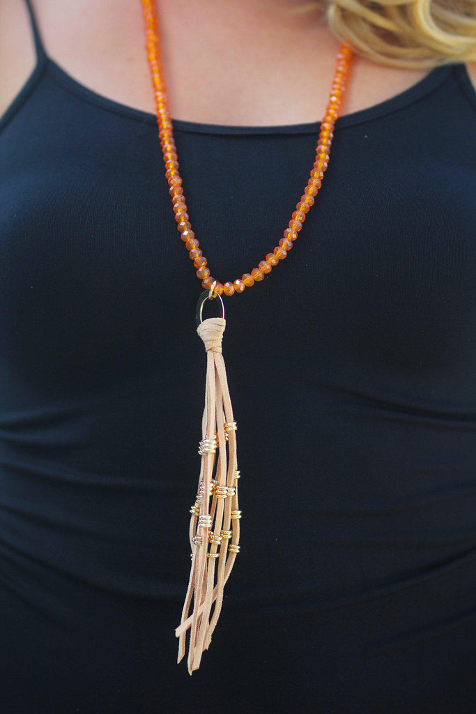 Taupe Last Waltz Tassel Necklace