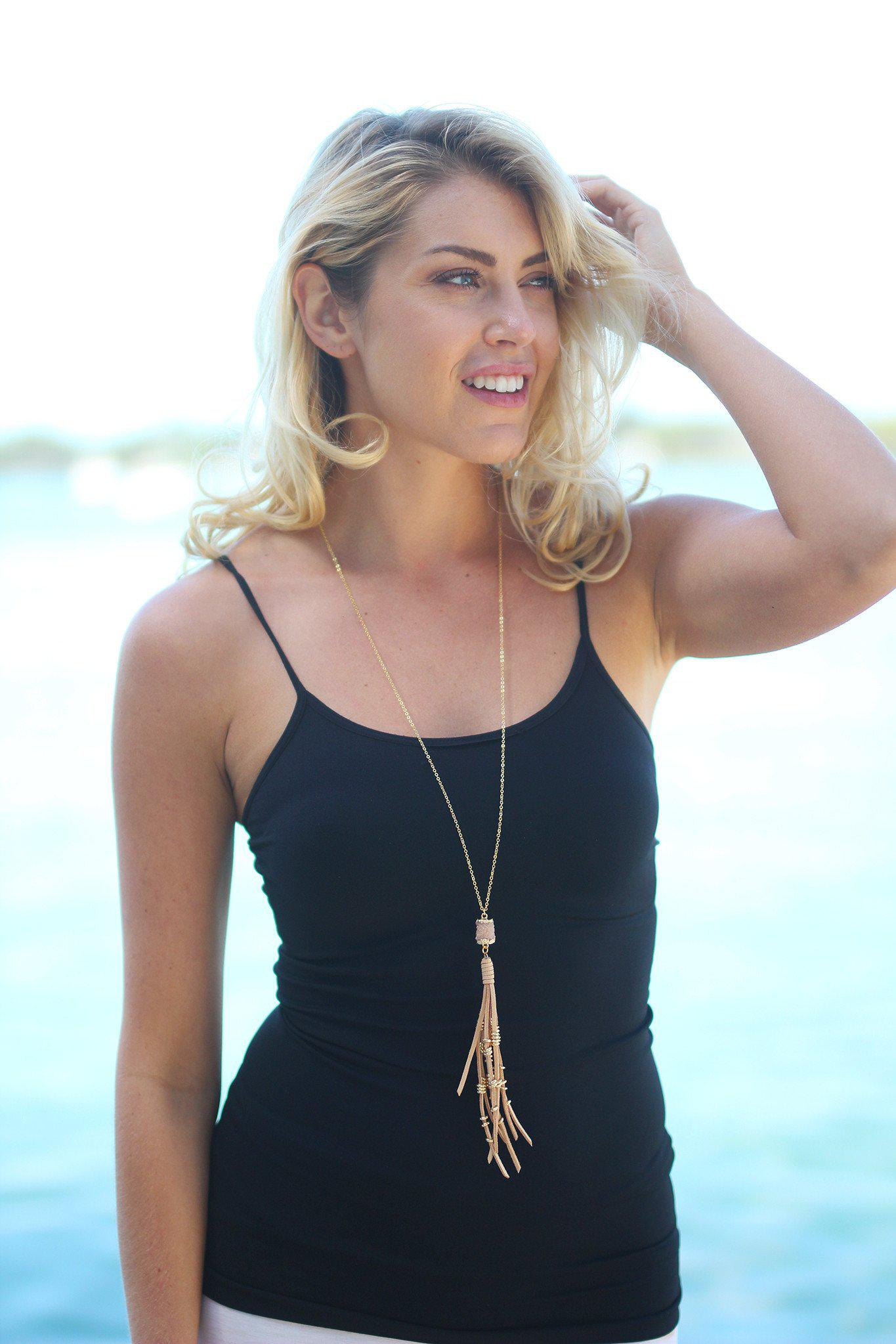 Taupe Druzy Necklace with Tassel