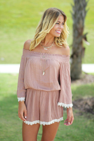 Taupe Off Shoulder Romper