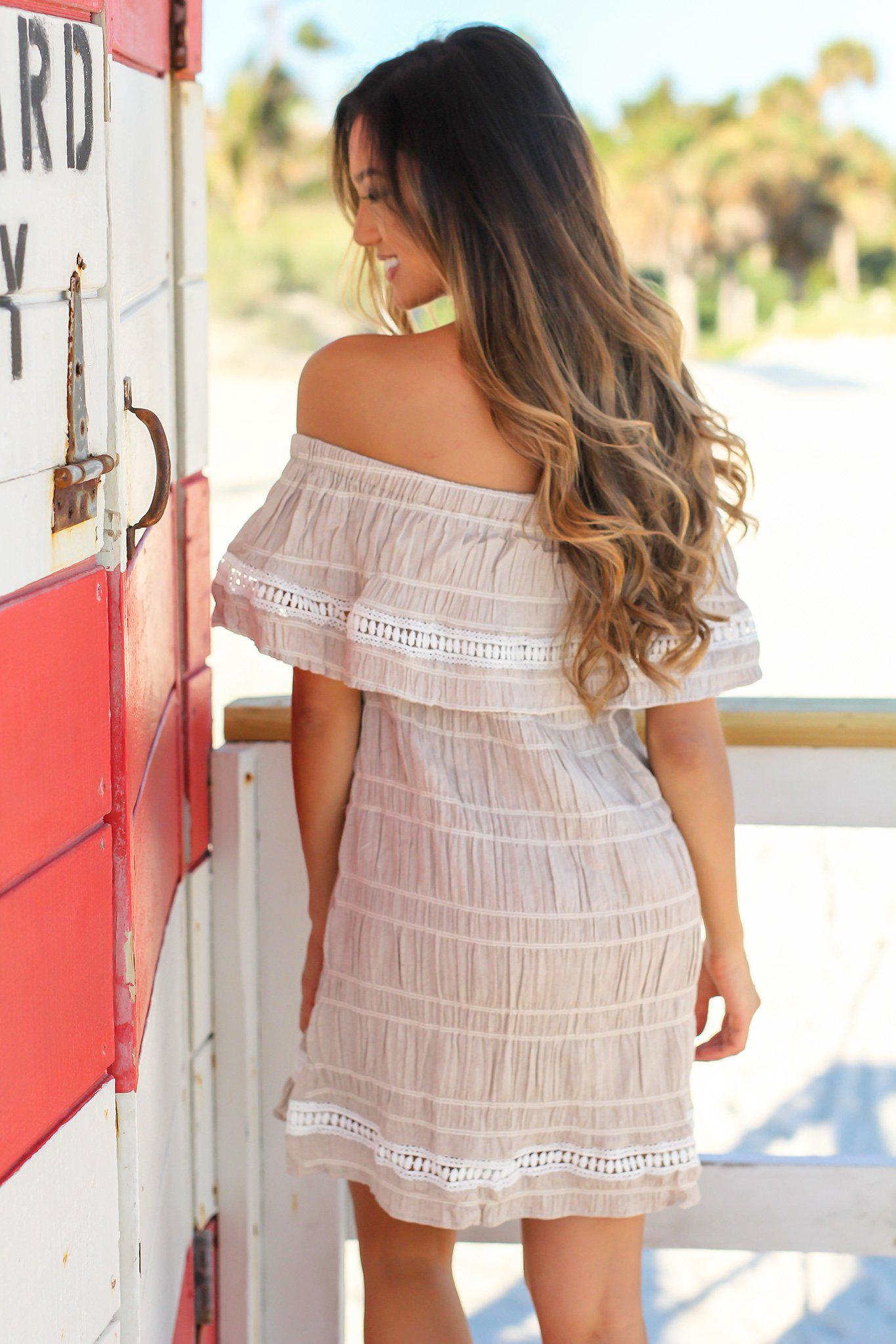 Taupe Off Shoulder Short Dress with Crochet Detail