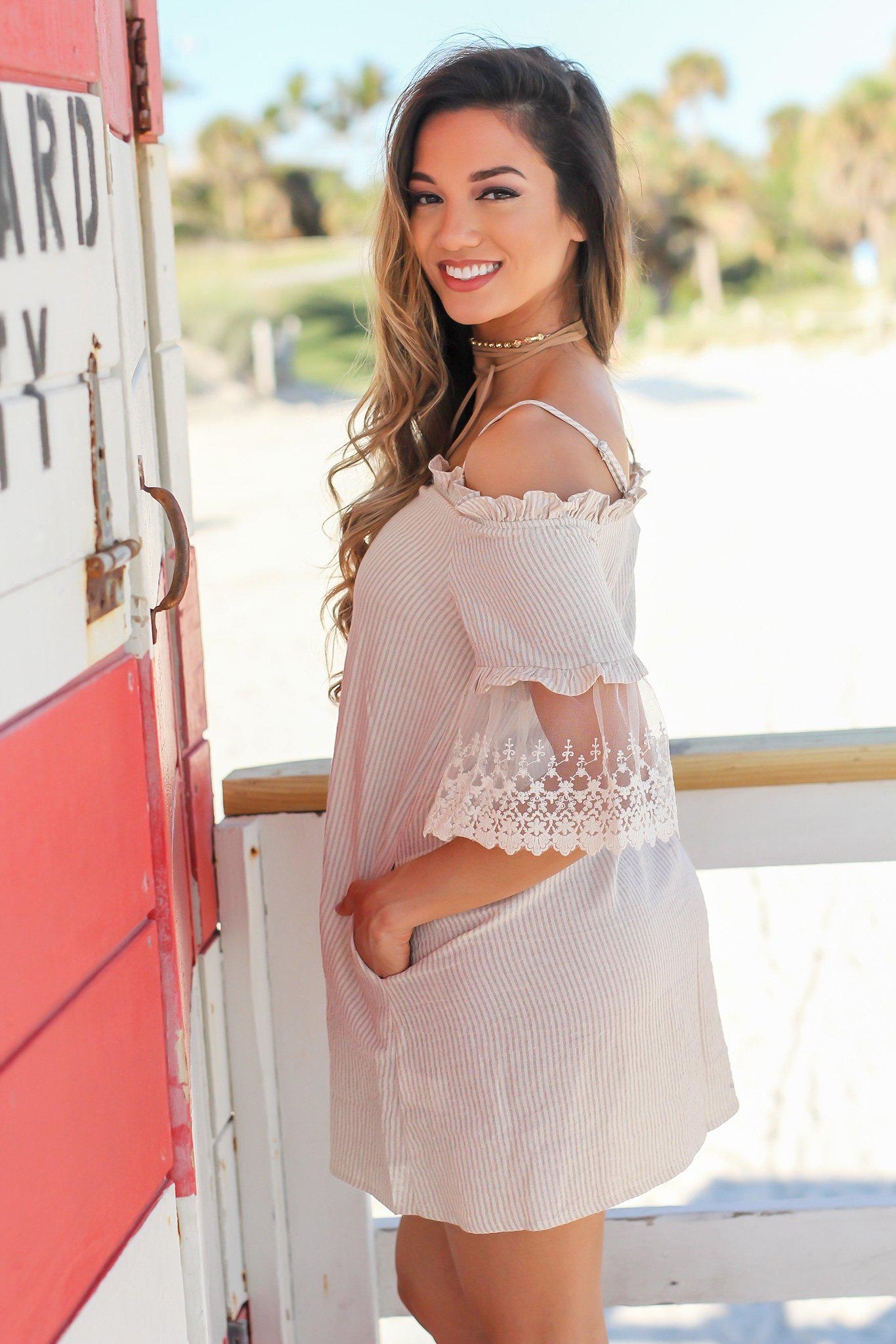 Taupe Off Shoulder Striped Short Dress with Lace Detail