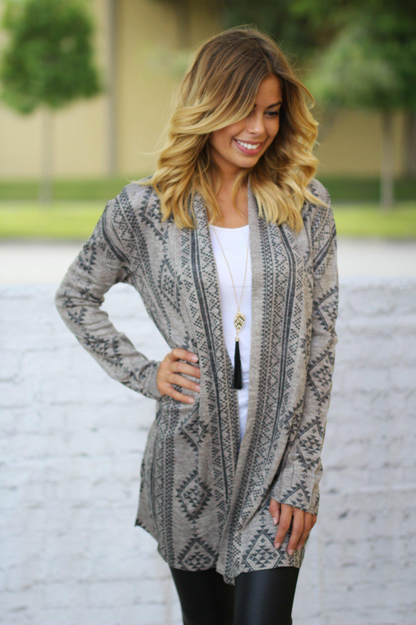 taupe open cardigan with geometric print