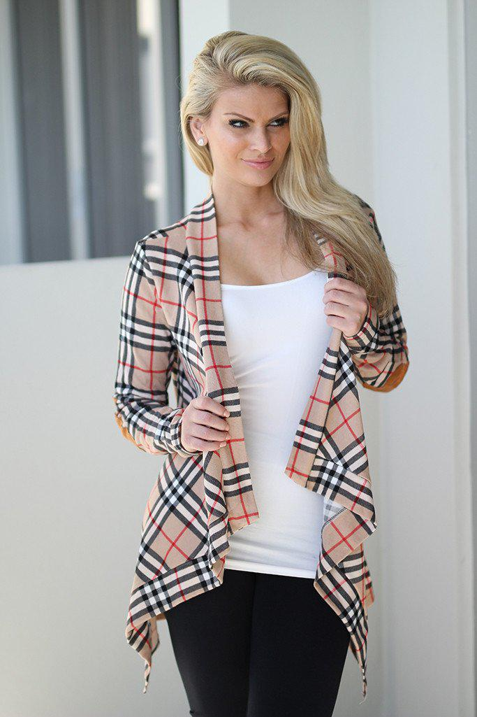 Taupe Plaid Cardigan With Elbow Patches
