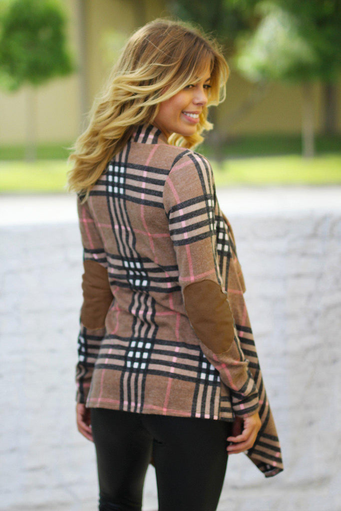 plaid patched elbows cardigan