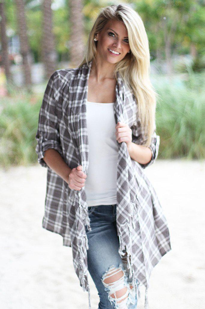 Taupe Plaid Fringe Cardigan