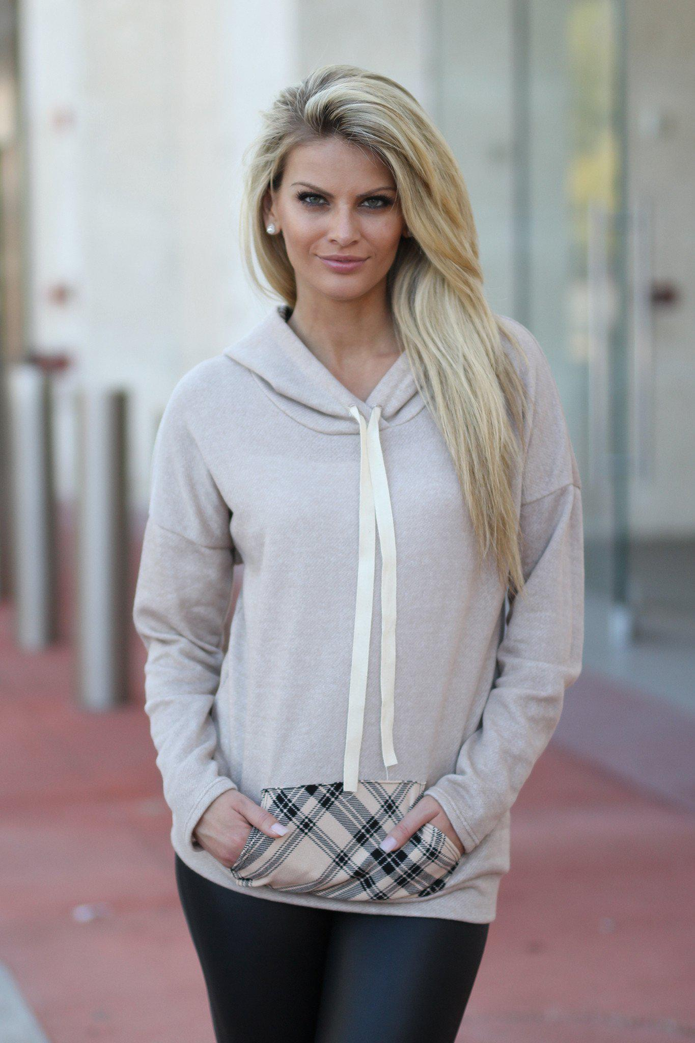 Taupe Plaid Hoodie With Pocket
