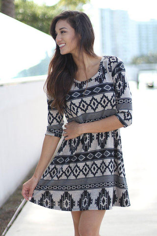Taupe and Black Printed Short Dress