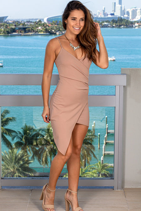Taupe Short Dress with Ruched Side