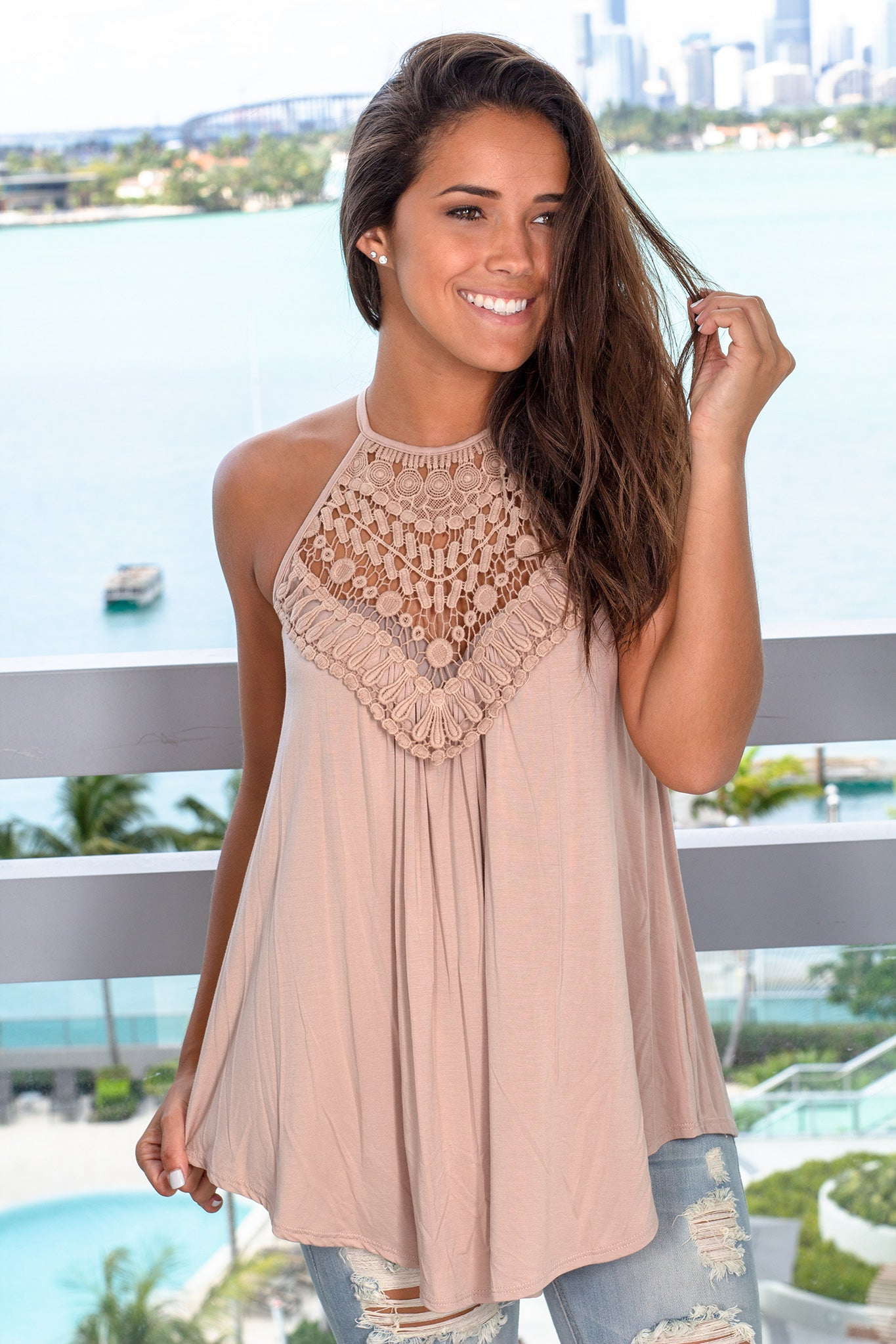 Taupe Sleeveless Top with Crochet Detail