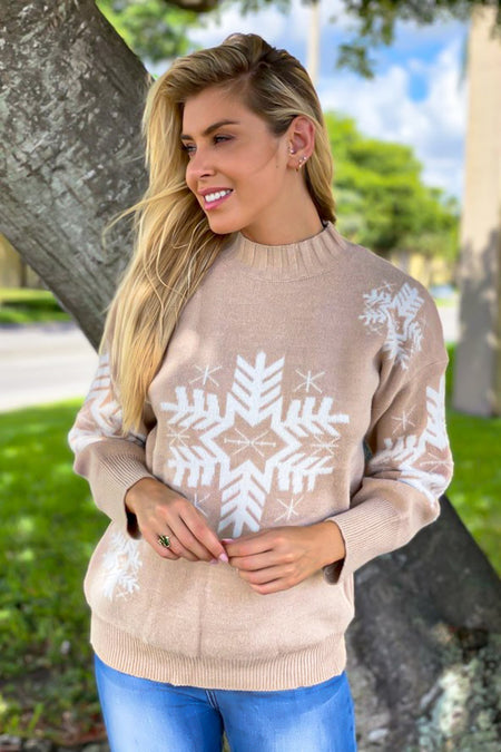 Taupe Snowflake Printed Sweater