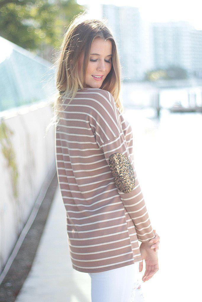 Taupe Striped Top With Sequin Elbow Patches