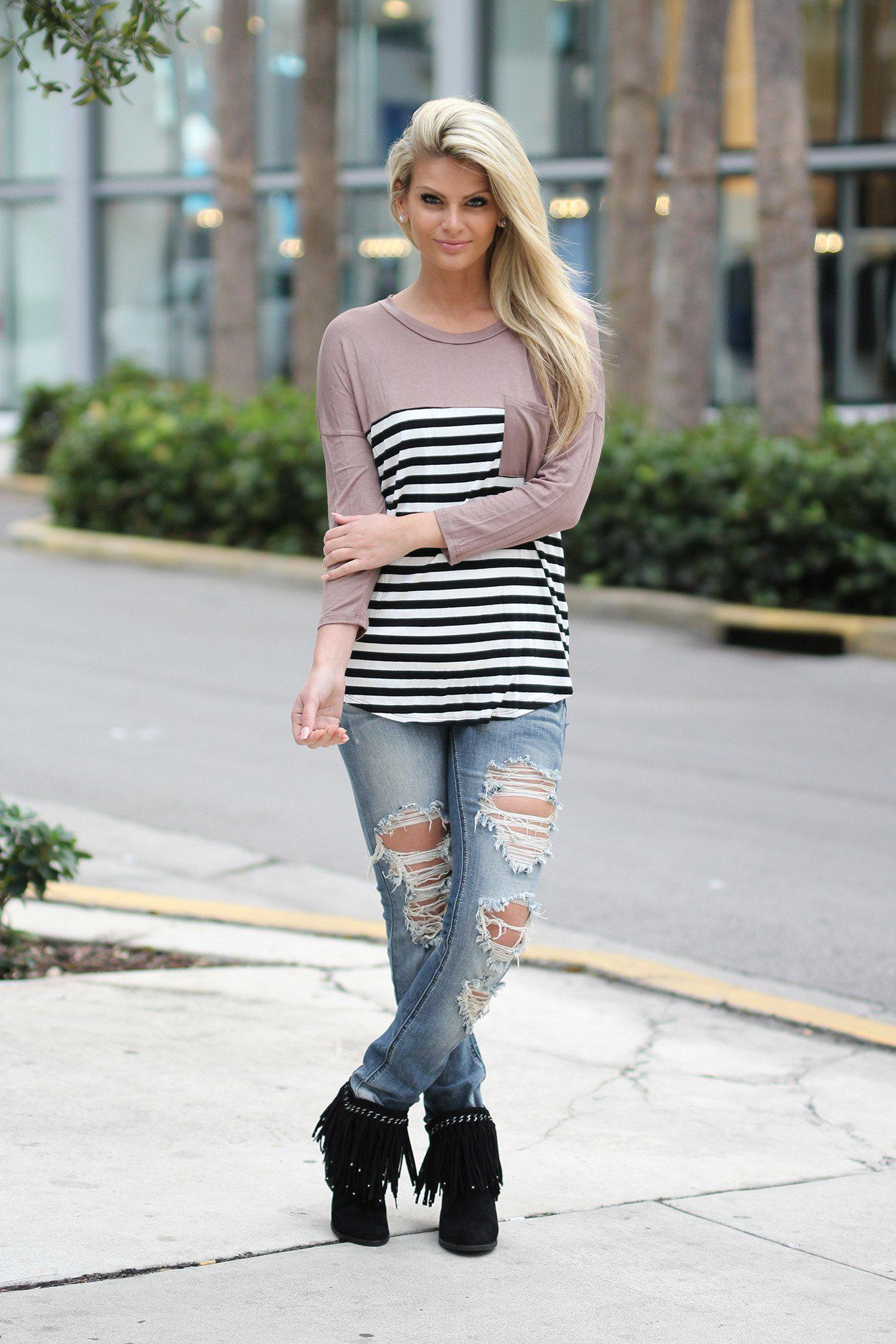 Taupe Striped Top with Pocket