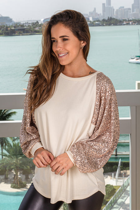 Taupe Top with Sequin Sleeves