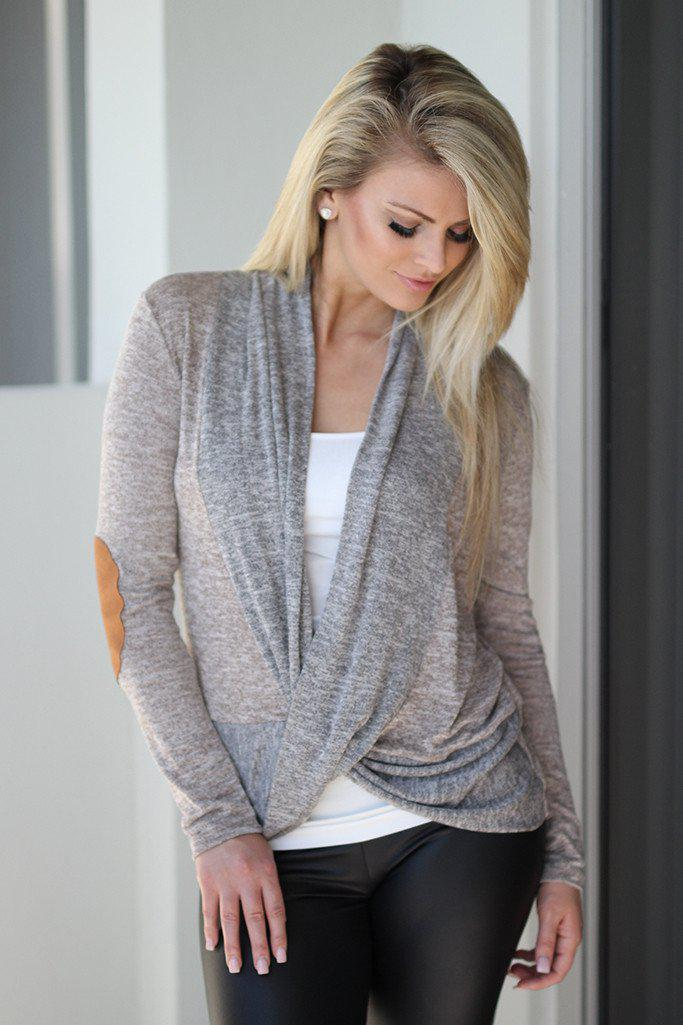 Taupe Wrap Top with Elbow Patches
