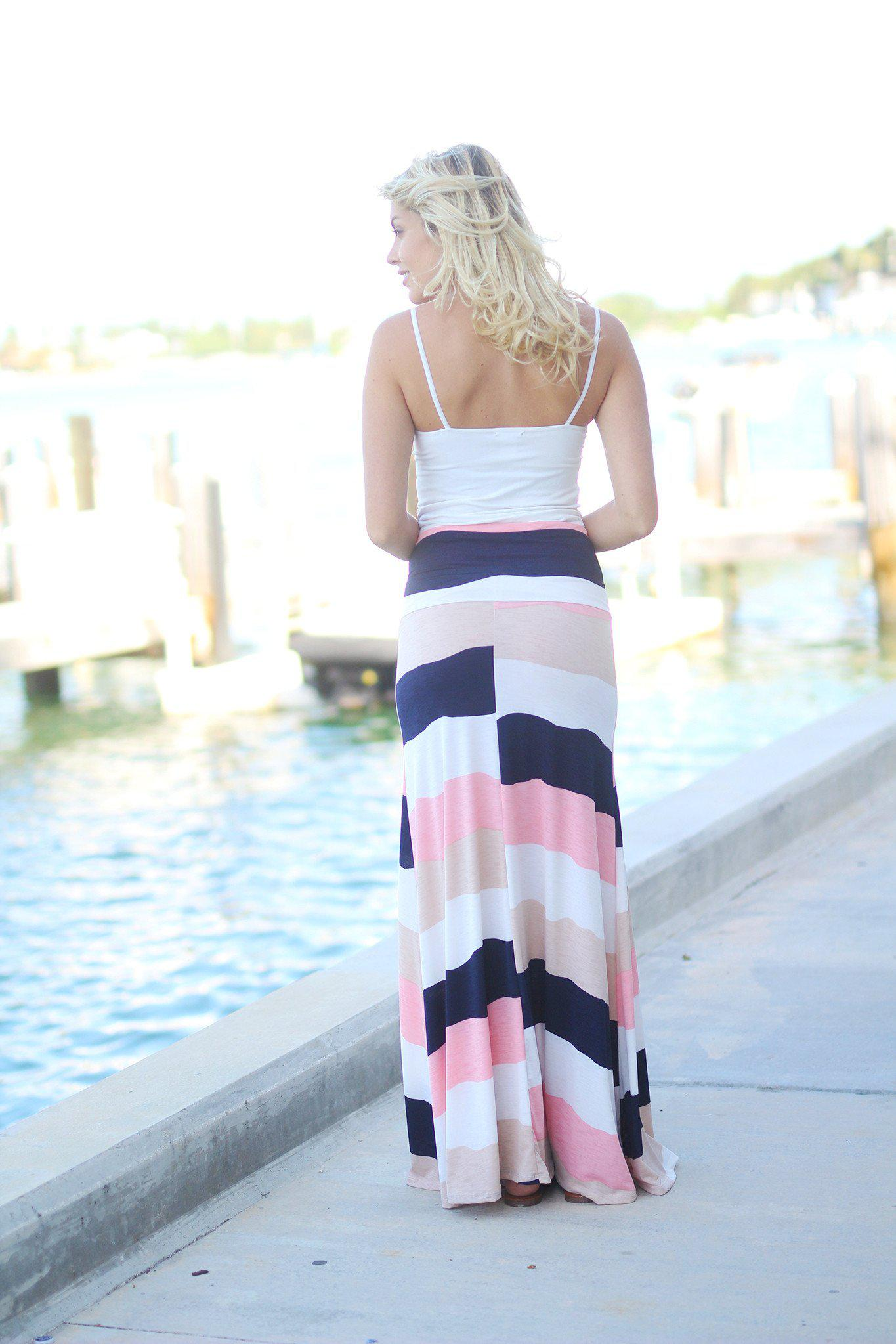Peach Color Block Maxi Skirt