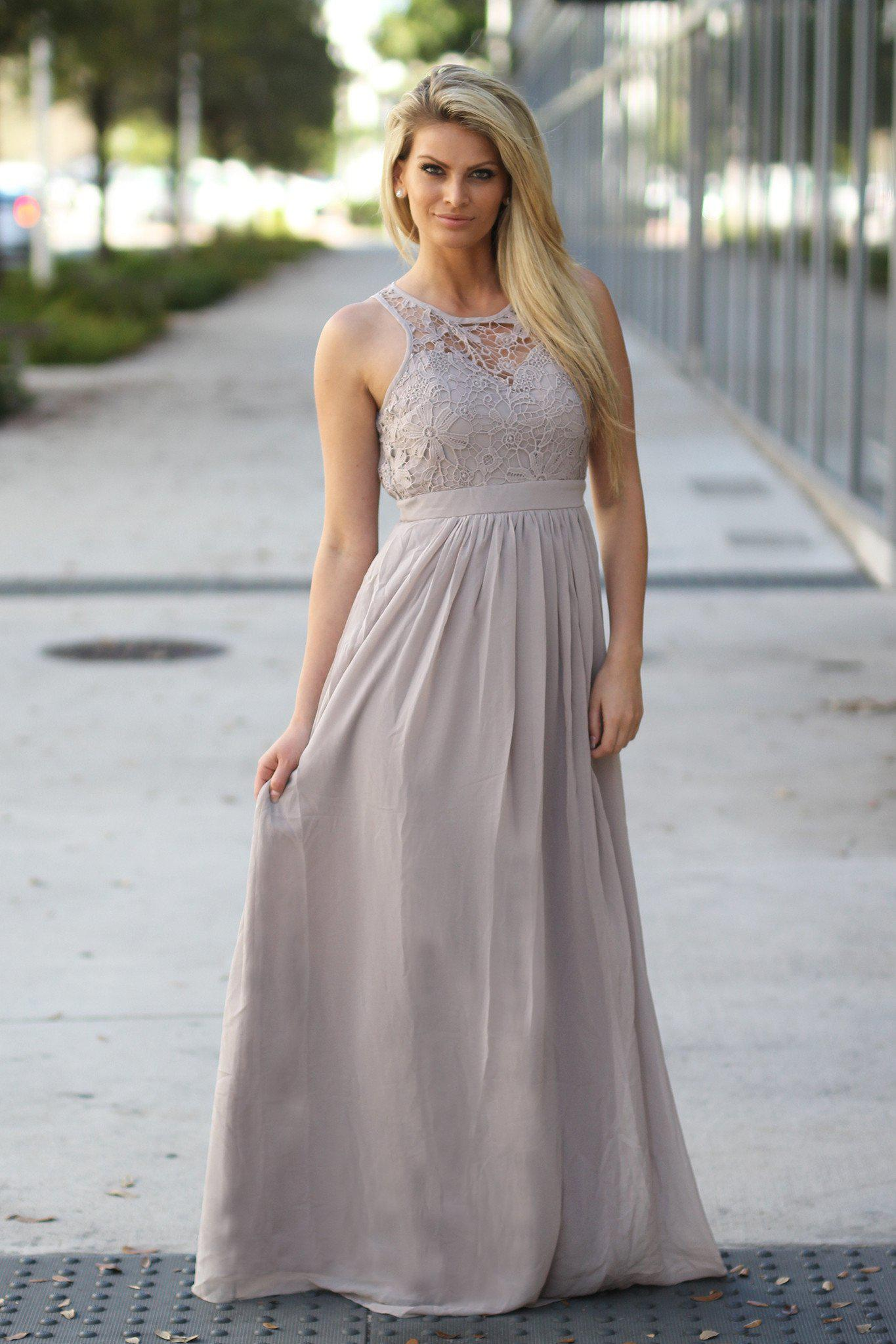 Taupe crochet maxi dress taupe maxi dress taupe long dress taupe bridesmaid dress ombrellifo Choice Image