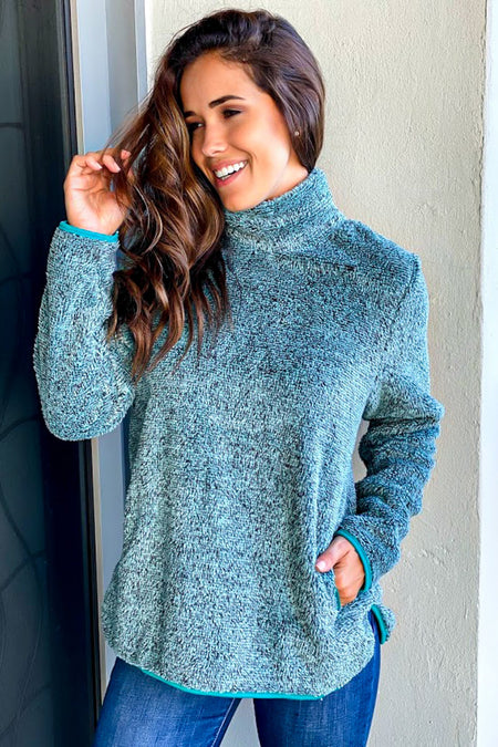 Teal Fuzzy Pullover