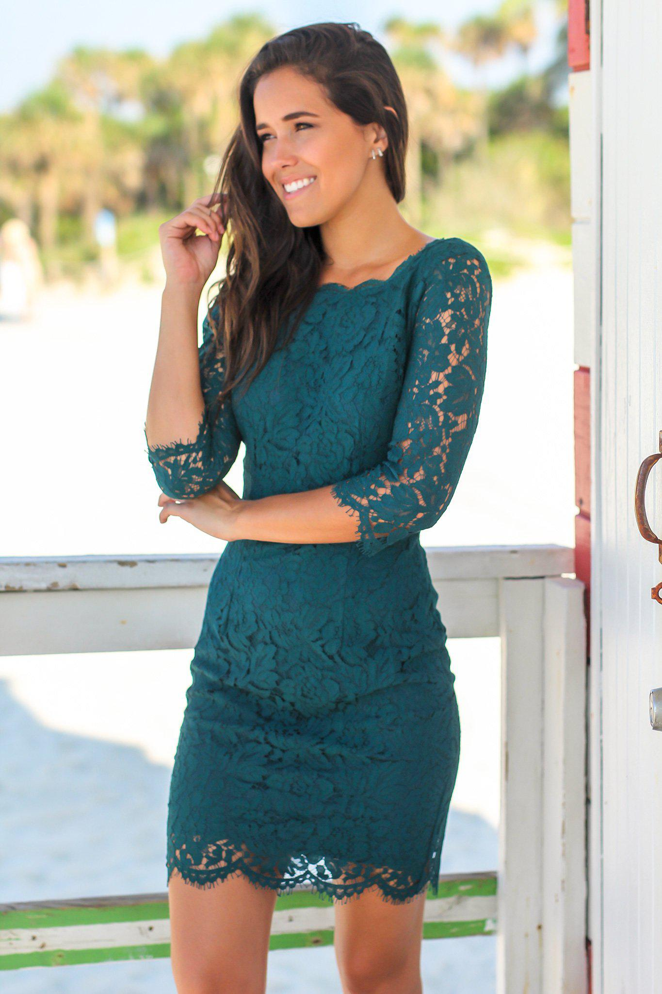 Teal Lace Short Dress with 3.4 Sleeves