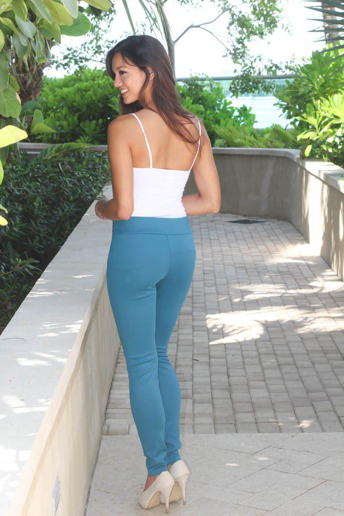 Teal Knit Leggings