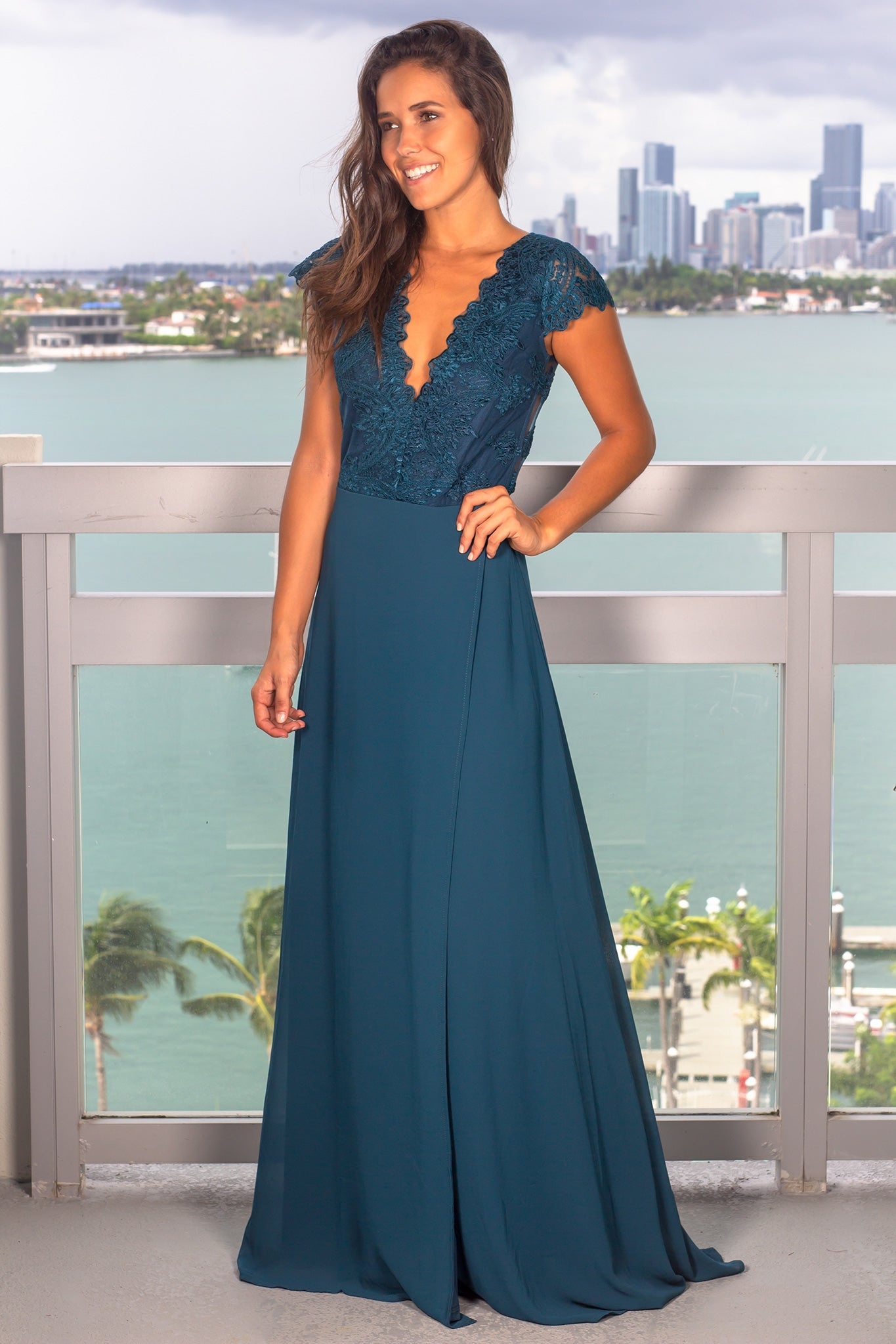 Teal Maxi Dress with Embroidered Top and Slit