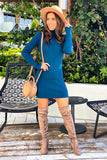 Teal Ribbed Turtle Neck Short Dress