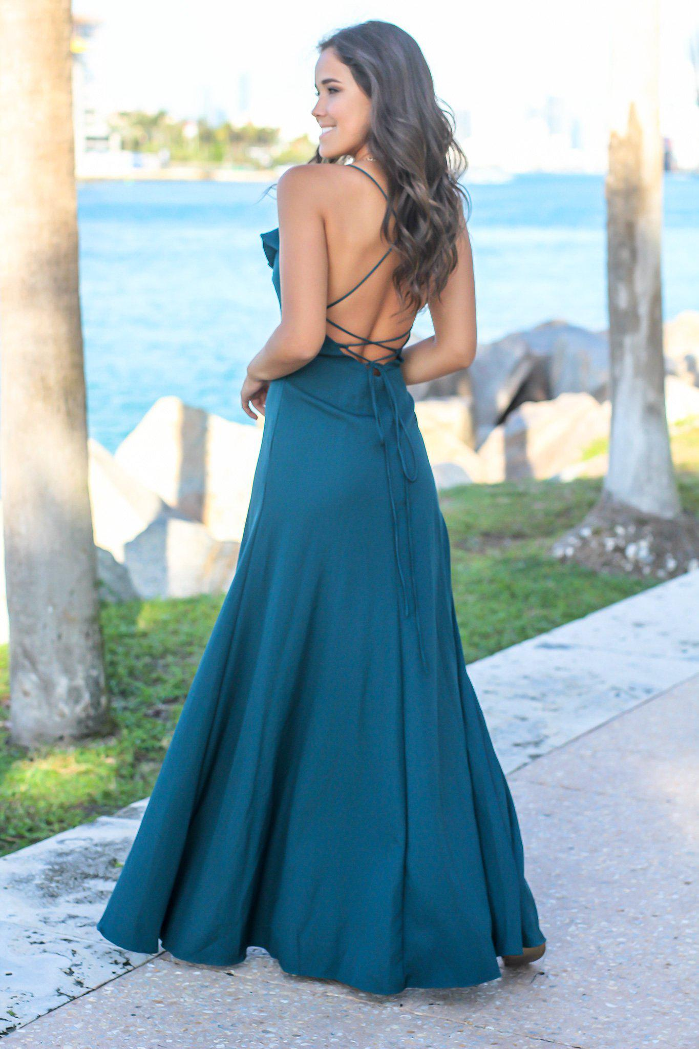 Teal Ruffled Maxi Dress with Lace Up Back