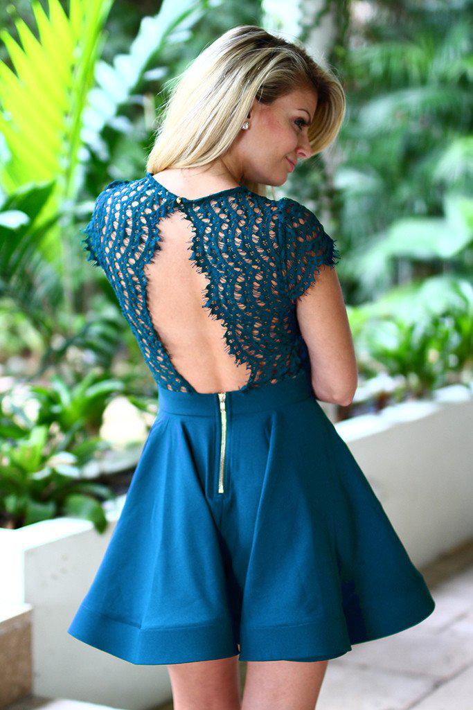 Teal Lace Short Dress